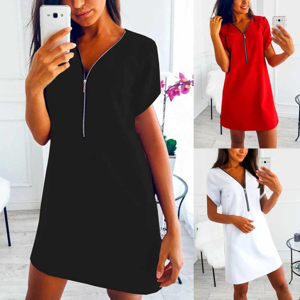 Letnia odzież damska damska koszulka z krótkim rękawem z dekoltem w serek sukienka w jednolitym kolorze casualowa wygodna bluzka sukienka na koszula nocna domowa # BL0