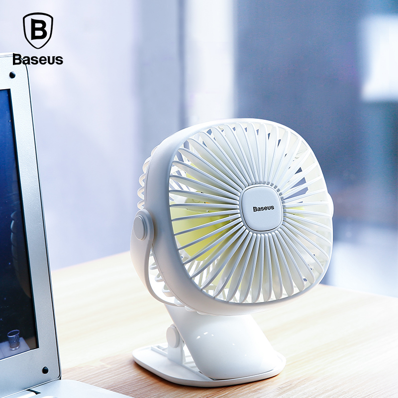 Baseus Mini USB Rechargeable Air Cooling Fan Clip Desk Fan Dual Use Home Student Dormitory Bedside Portable Desktop Office Fan