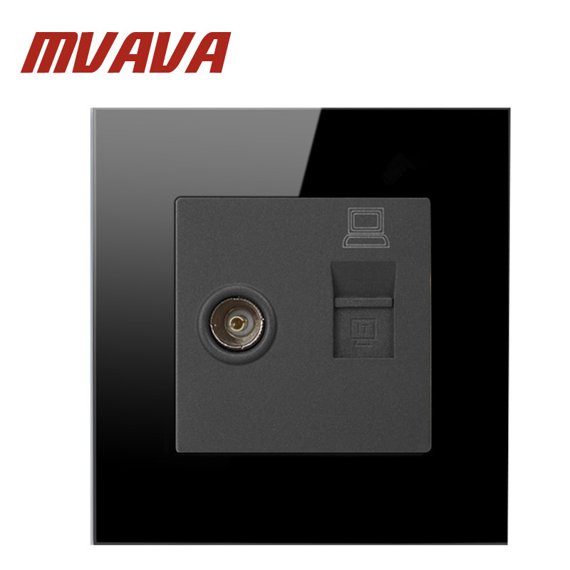 Mvava Free Shipping, Luxury Black crystal glass panel Wall Switch Panel, Computer and TV Socket , 86*86mm, 10A,110~250V