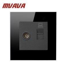 цены Mvava Free Shipping, Luxury Black crystal glass panel Wall Switch Panel, Computer and TV Socket , 86*86mm, 10A,110~250V