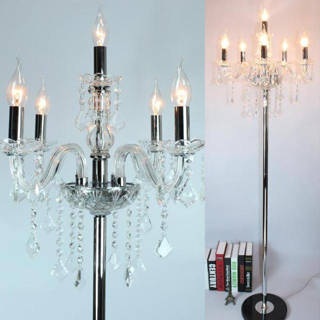 Modern led candle floor lamp for living room wedding crystal modern led candle floor lamp for living room wedding crystal candlestick chrome lambader party floor light mozeypictures Image collections