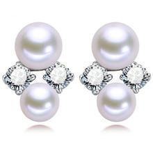 Women Gift word 925 Sterling silver real Shipping pony S925 Silver Freshwater Pearl Earrings double female Pearl Earrings Jewelr
