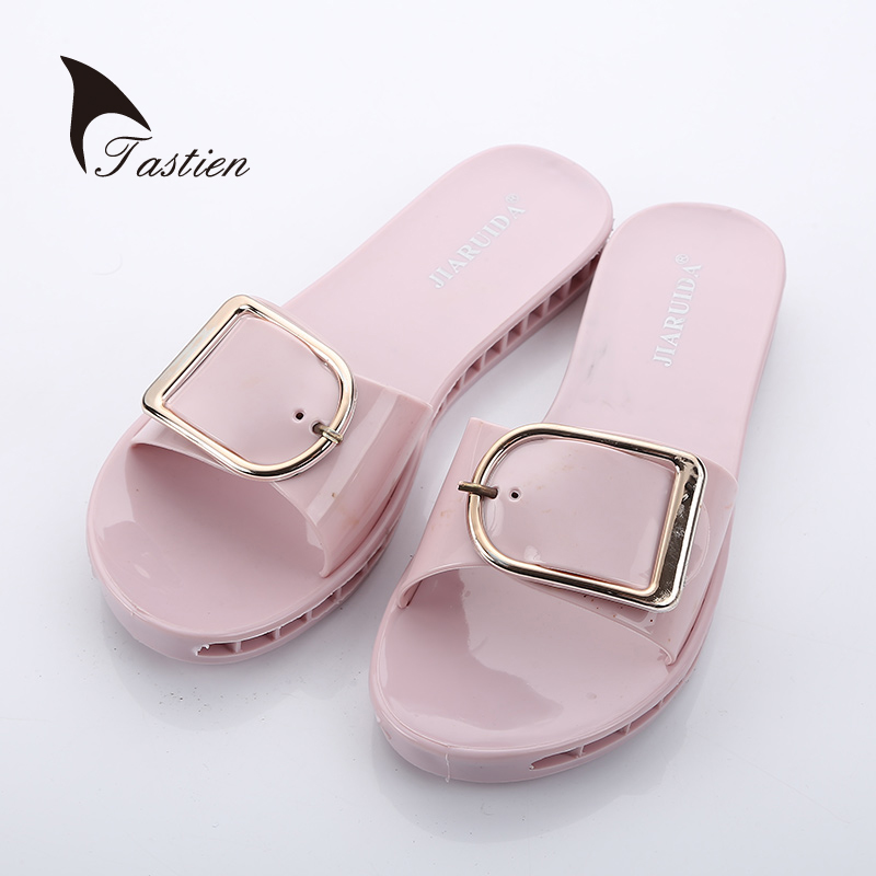 TASTIEN Women Slippers Summer Beach Female Shoes  Open Toe  Flat  Slip On Ladies Slippers Flip Flop Slide Sandals Casual Sweet free shipping hole shoes 2014 flat sandals female slippers the chameleonlike slip resistant jelly shoes sandals
