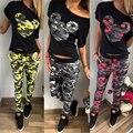 2016 Mulheres do Outono do Verão Terno Conjuntos de fatos de Camuflagem padrão de Impressão dos desenhos animados 2 peças (t-shirt + calças) mulheres conjunto agasalho