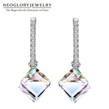 Neoglory Fashion Long Big Square Dangle Earrings for Women 2019 Hot New Jewelry Embellished with Crystals from Swarovski