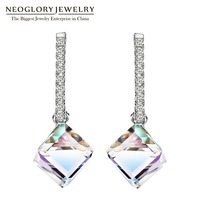 Neoglory MADE WITH SWAROVSKI ELEMENTS Crystal Fashion Long Big Square Dangle Earrings For Women 2017 Hot