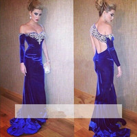 Blue 2019 Prom Dresses Mermaid One shoulder Crystals Velvet Slit Long Prom Gown Evening Dresses Evening Gown Robe De Soiree