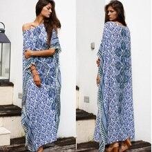 Womens Floral Loose Maxi Long Beach Dress Cover up Caftan