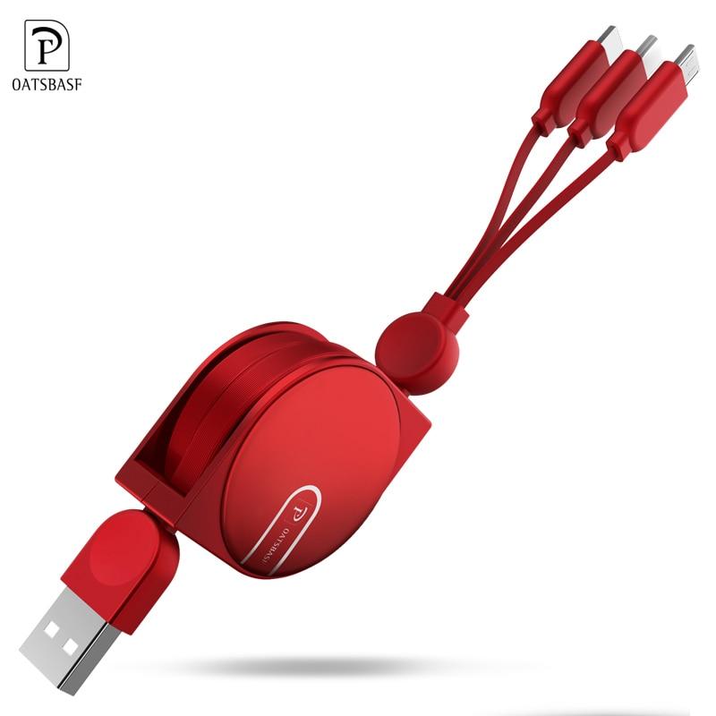 Oatsbasf Cable USB 3 en 1 para iPhone 5X5 5 6 6 7 8 Cable de teléfono móvil tipo C Micro USB cable para Android del teléfono del Cable del cargador