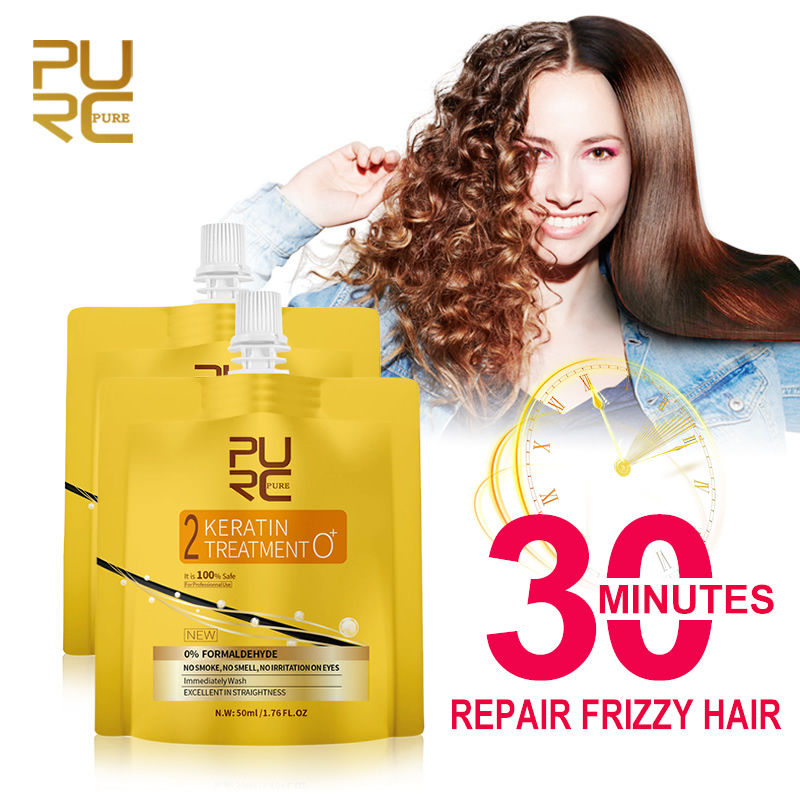PURC 0% Keratin Treatment Straighten Hair Repair Damaged Free Fomalin No Smoke No Irritation Soft Shiny Hair Care