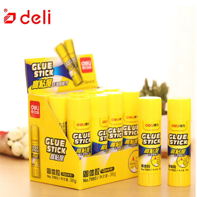 Deli 12PCS/Lots Solid Glue Stick Strong Adhesives Glue Stick For Student Stationery Glue High Viscosity 36g/pc School Supplies