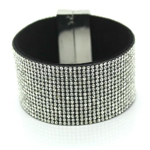 ¡2017 pulsera de cuero de cristal estético de moda superior para mujer famosa joyería de pulsera de encanto clásico de diamantes de imitación de alta calidad!