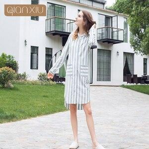 Image 2 - Qianxiu 2017 новая женская ночная рубашка в клетку, популярная дышащая 17115 для вечеринок