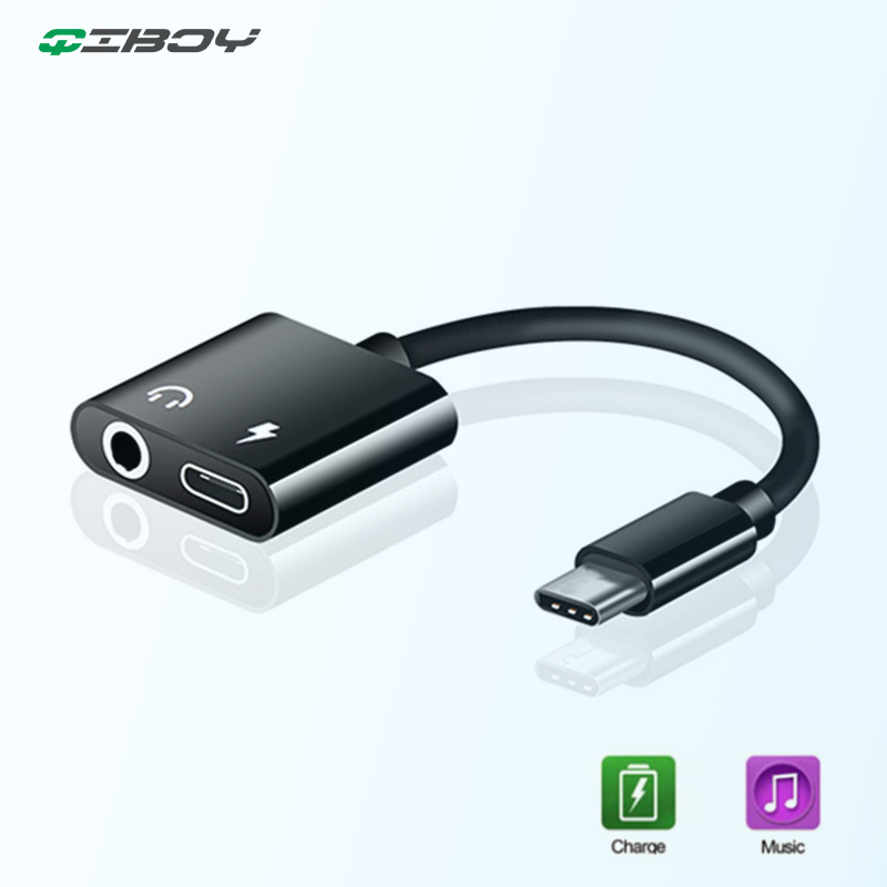 Type C Adaptador To 3.5mm Jack Headphone Aux Audio For Samsung S10 Huawei P30 Pro Play Music And Charge Adapter For Xiaomi 8 Mi9