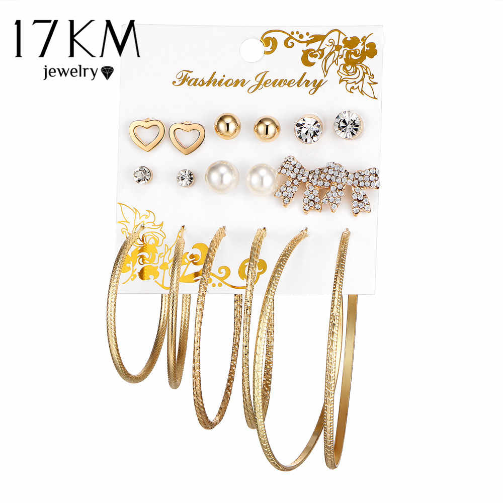 17KM New Oversize Butterfly Earring Set For Women Punk Simulated Pearl Crystal Heart Stud Earrings Party Jewelry brincos 2018