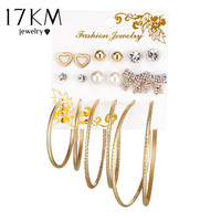 17KM Fashion Oversize Butterfly Earring Set For Women Punk Simulated Pearl Crystal Heart Stud Earrings Party Jewelry 9Pairs/set