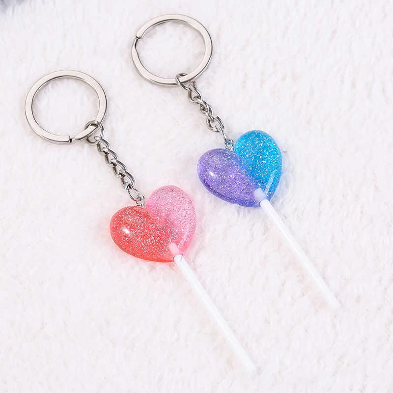 1 pc chaveiro feminino encantos coração lollipop flatback resina glitter pingente acessório para chaveiro diy