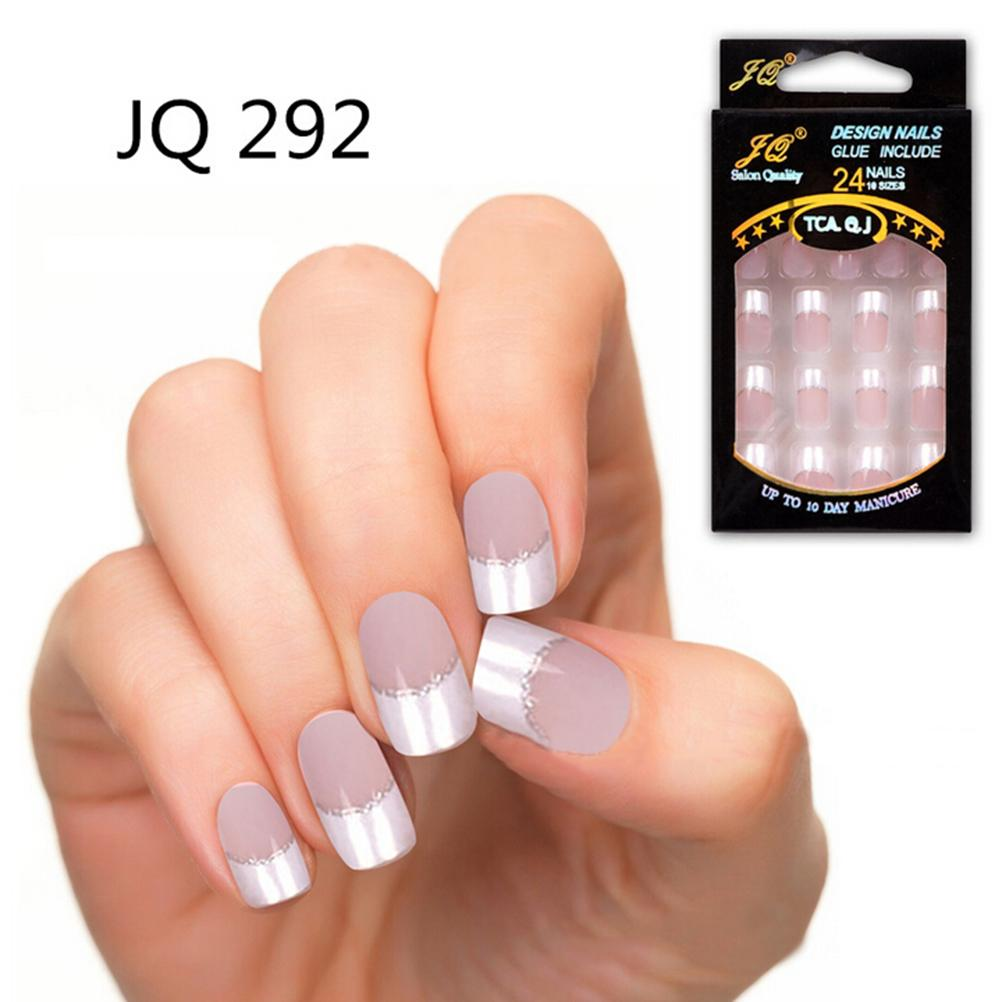 Online Shop 24PCS Full Cover Artificial Nails Fake Nails Short False ...