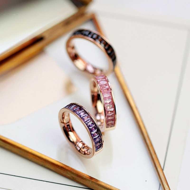 YUN RUO Rose Gold หลายสีหิมะโครเมี่ยมแหวนผู้หญิงผู้หญิงวันเกิดของขวัญ 316L สแตนเลสเครื่องประดับภาษาโปลิชคำไม่เคย fade