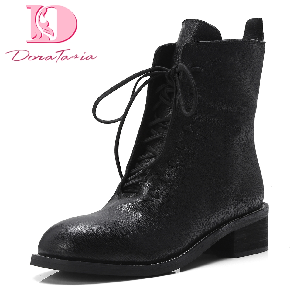 Doratasia 2018 Sheepskin genuine leather Wholesale Ankle Boots Woman Shoes Lace Up Hot Sale western boots Shoes Woman Boots doratasia 2018 lace up black white women boots woman shoes comfort flat heel wholesale hot sale mid calf boots shoes woman