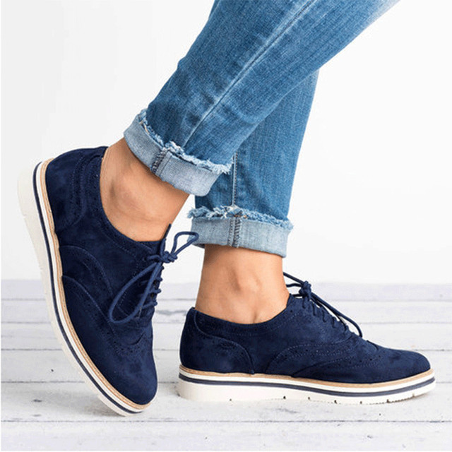 ข้อเท้ารองเท้าสำหรับสตรีผู้หญิงรอบนิ้วเท้าสีข้อเท้าแบน Suede Lace Up รองเท้ารองเท้า # NFA