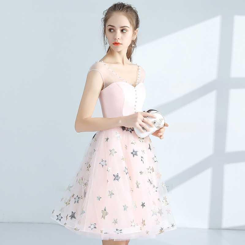 888e14c8b22 Красивая органзы принты Короткие платья выпускного вечера Новые розовые  платья для выпускного без рукавов с аппликацией