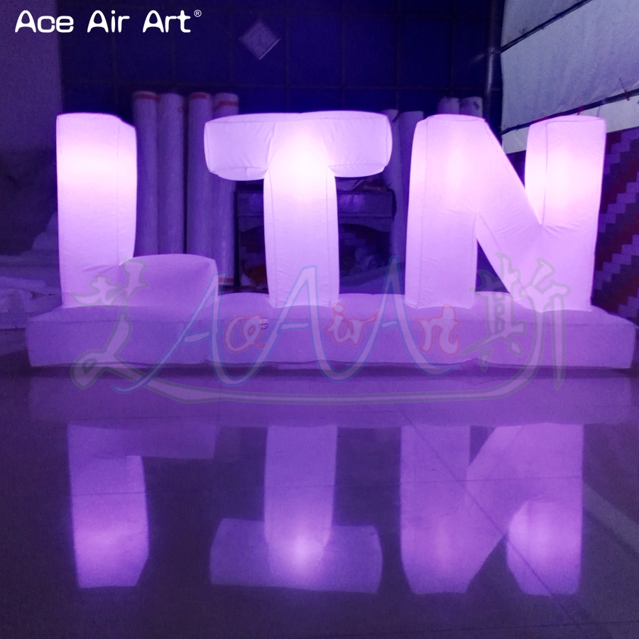 Customized led lighting inflatable letters of alphabet advertising billboard colorful letters set balloon for sale - 3