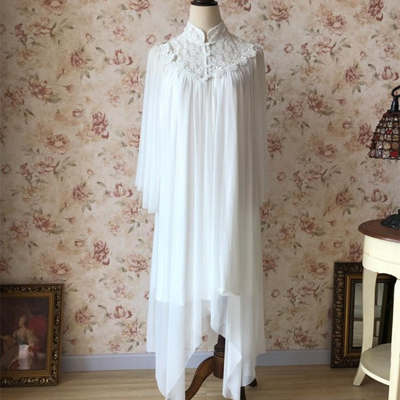 Women Sleep Lounge   Nightgowns     Sleepshirts   Literary Palace Lace Embroidery Irregular Turtleneck White Modal Cotton Nightdress