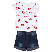 2Pcs Baby Girls Red Lip Printed White Short T Shirt Top With Short Denim Pant Set