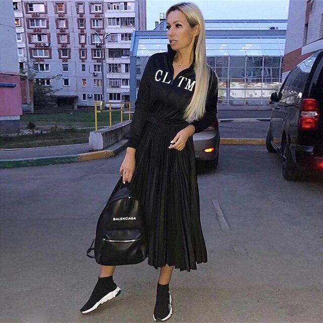 2019 Women's Black Elegant Pleated Dress Long Sleeve Stand Collar Front Zipper High Waist Casual Dress Celebrity Party Vestidos 1
