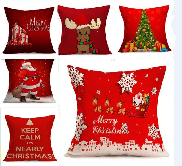 45*45CM Xmas Pillowcase Christmas Decorations For Home Tree Santa Claus Cotton Linen Cushion Cover Set Red Pillow Case