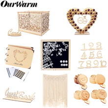 OurWarm Boho Rustic Wedding Candy Bar Money Card Box Photo Backdrop Ring Party Favors For Guest Baptism Decoration