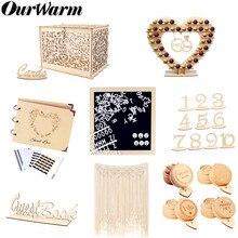OurWarm-Caja rústica Bohemia para tarjeta de boda, Fondo de foto, anillo, caja de recuerdos de fiestas para invitados, bautismo y boda