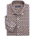 Positive brand men's shirts men's oxford shirt iron plaid long-sleeved shirt yellow black and white checkered shirts men A1273