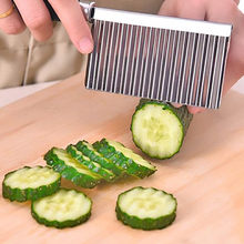 potato slicer fatiador Wavy Edged Tool Stainless Steel Gadgets for the kitchen knife for vegetables peeler Fruit apple cutting(China)