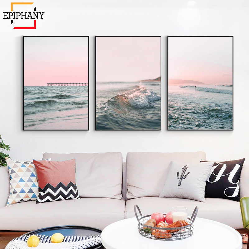 Modern Ocean Print Gallery Wall Art Canvas Painting Beach Pink Sunset Waves Landscape Posters Wall Pictures for Living Room
