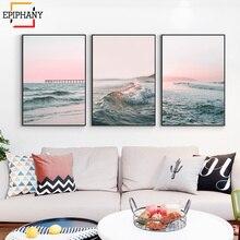 Cuadro sobre lienzo para pared con imagen moderna de océano, playa, rosa, olas al atardecer, paisaje, pósteres imágenes para pared para sala de estar