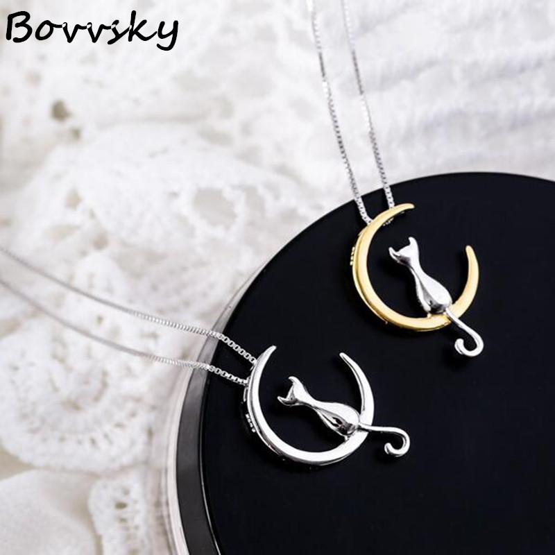 Bovvsky 925 Sterling Silver Moon Cat Kitty Necklaces Pendant For Women Fashion sterling-silver-jewelry cute cat necklace gift