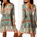 New Autumn Women Mini Long Sleeve Dress Vintage Ethnic Dress Casual Tassel Decor Loose Beach Dress Floral Printed Sundress U2
