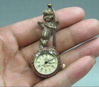 Exquisite Chiński stare instrukcja rzeźba miedzi angel kolekcja można używać pocket watch