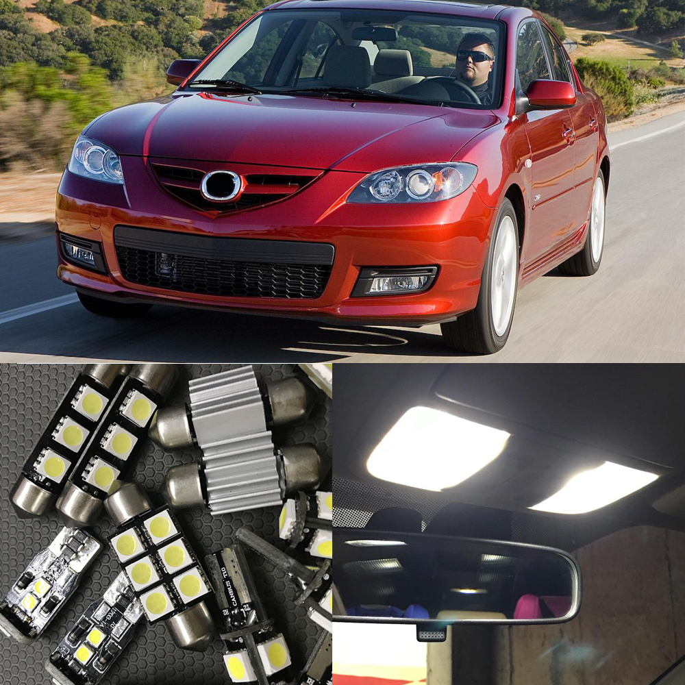 8x White Canbus Car LED Light Bulbs Interior Kit For 2004 2005 2006 2007 2008 2009 Mazda 3 Map Dome Trunk Led License Plate Lamp cawanerl car canbus led package kit 2835 smd white interior dome map cargo license plate light for audi tt tts 8j 2007 2012