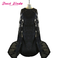 Dubai Evening Dresses With Cape Satin Abaya Kaftan Formal Party Gowns Black Appliques Lace Evening Dress Elegant Long Caftan