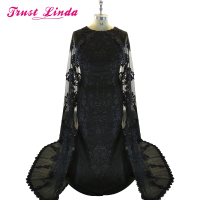 Dubai Evening Dresses With Cape Satin Abaya Kaftan Formal Party Gowns Black Appliques Lace Evening Dress Elegant Long Caftan