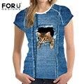 FORUDESIGNS Новая Мода Женщины Футболки С Коротким Рукавом Синий Деним Kawaii 3D Животных Cat Собака Печатных Футболки Женской Одежды топы