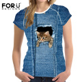 FORUDESIGNS New Fashion Women T Shirts Short Sleeve Blue Denim Kawaii 3D Animal Cat Pet Dog Printed T-Shirt Female Clothes Tops