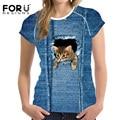 FORUDESIGNS New Fashion Women T Shirts Short Sleeve Blue Denim Kawaii 3D Animal Cat Pet Dog Printed T-Shirt Female Clothes Tops