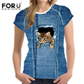 Forudesigns nuevas mujeres camisetas de manga corta de mezclilla azul kawaii 3d animal cat dog pet impreso t-shirt ropa femenina Tops