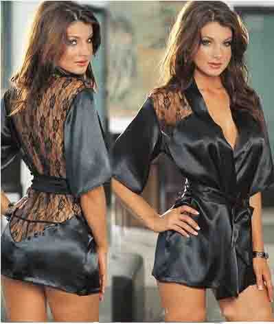 Funny Lingerie black SheeYon Apparel sexy lace perspective bathrobe Novelty Special Use large size Temptation underwear