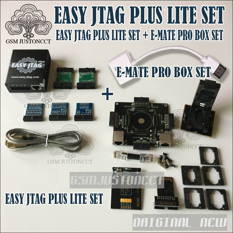 2018 nuevo fácil JTAG más LITE SET fácil Jtag más la caja + nuevo e-mate caja Emate Pro caja e-socket EMMC herramienta todo en 1