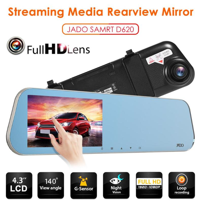 JADO Recorder Car Rearview-Mirror Dashcam DVR Auto 1080p FHD LCD Camara Para 2 D620